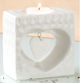 GILDE Deko-Teelichthalter Herz weiß glasiert marmoriert, 6x10x10 cm