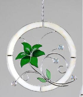 formano Fensterbild aus tiffany Glas Blume mit Kugeln verziert in Grün