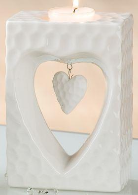 GILDE Deko-Teelichthalter Herz weiß glasiert marmoriert, 6x10x14 cm